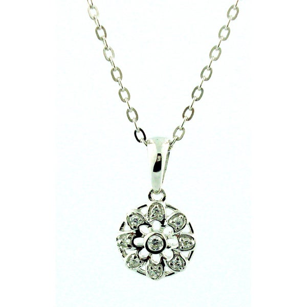 Sterling Silver 1/5ct TDW Diamond Flower Necklace (H-I, SI1-SI2)