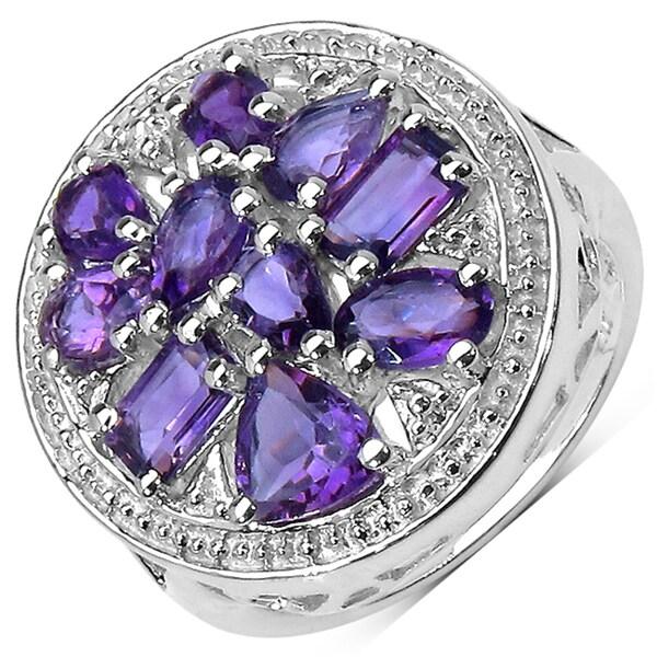 Malaika Sterling Silver 2 7/8ct TGW Amethyst Ring