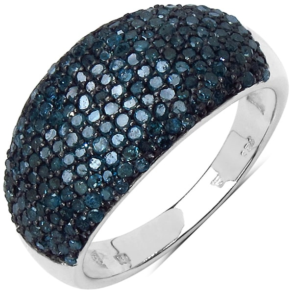 Malaika Sterling Silver 1ct TDW Blue Diamond Cocktail Ring