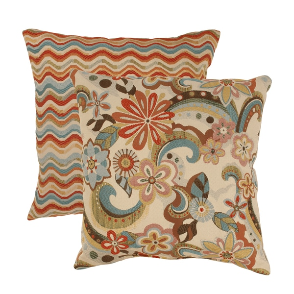 Pillow Perfect Floral Splash/ Wave 18-inch Multicolored Throw Pillows (Set of 2)