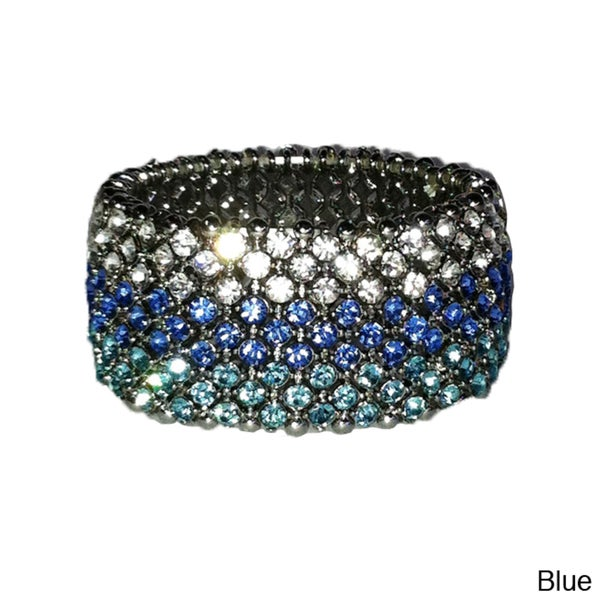 Stainless Steel Colored Crystal Retro Vintage Stretch Bracelet