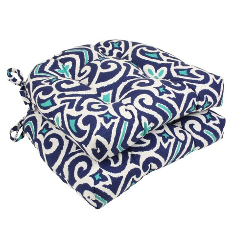 Pillow Perfect Blue/ White Damask Reversible Chair Pad (Set of 2)
