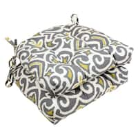 Pillow Perfect Gray/ Greenish-Yellow Damask Reversible Chair Pad (Set of 2)