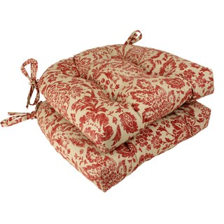 Pillow Perfect Red/ Tan Damask Reversible Chair Pad (Set of 2)