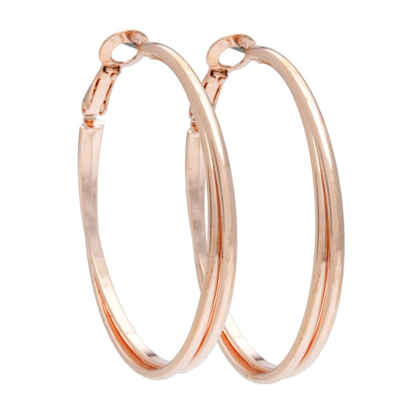 Alexa Starr Two-row Round Edge Hoop Earrings