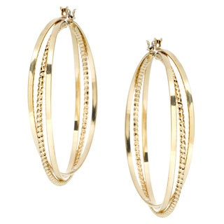 Alexa Starr Large Silvertone Three-row Hoop Earrings