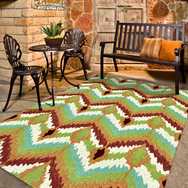 Indoor/ Outdoor Hand-hooked Portia Multi Rug (7'6 x 9'6)