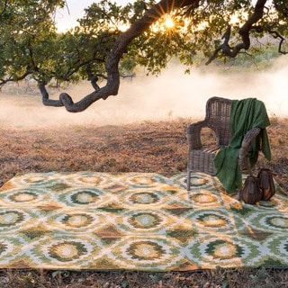 Indoor/ Outdoor Hand-hooked Portia Lime Rug (3'6 x 5'6)