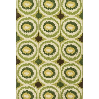 Indoor/ Outdoor Hand-hooked Portia Lime Rug (9'3 x 13')