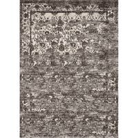 Vintage Mocha Brown/ Ivory Floral Distressed Transitional Area Rug