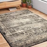 Vintage Ash Grey Distressed Transitional Area Rug