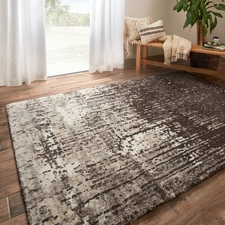 Vintage Brown/ Ivory Abstract Distressed Transitional Area Rug