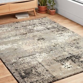 Shop Vintage Grey Abstract Distressed Transitional Area