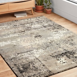 Vintage Grey Abstract Distressed Transitional Area Rug