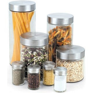 Cook N Home 8-Piece Glass Canister and Spice Jar Set with Lids - Clear/Silver