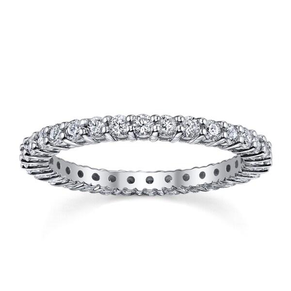 14k White Gold 4/5 to 1ct TDW Diamond Eternity Wedding Band (H-I, I1-I2)