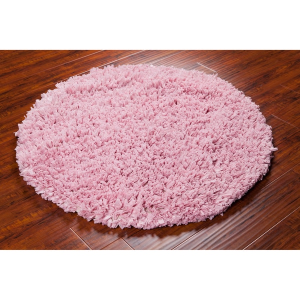 Shop Mandara Hand-woven Pink Shag Rug (4' Round)