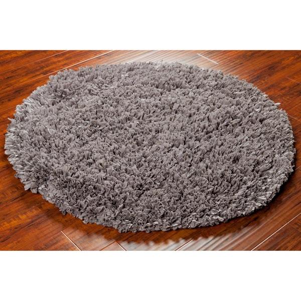 Mandara Hand-woven Grey Shag Rug (4' Round)