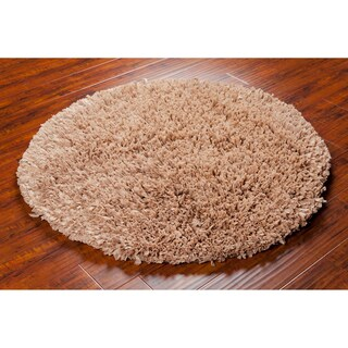 Mandara Handwoven Tan Shag Area Rug (4' Round)