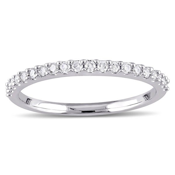 Miadora 10k White Gold 1/5ct TDW Diamond Stackable Wedding Band