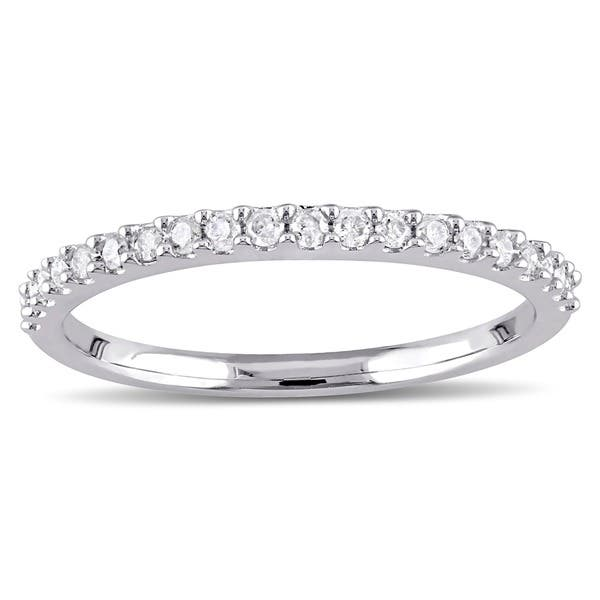 8a4acb713d33db Shop Miadora 10k White Gold 1/5ct TDW Diamond Stackable Wedding Band ...