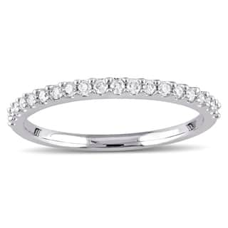 Miadora 10k White Gold 1/5ct TDW Diamond Stackable Wedding Band|https://ak1.ostkcdn.com/images/products/7310483/P14780790.jpg?impolicy=medium