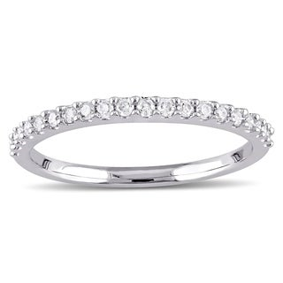 Miadora 10k White Gold 1/5ct TDW Diamond Stackable Wedding Band (More options available)