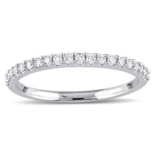 miadora 10k white gold 15ct tdw diamond stackable wedding band - Wedding Rings And Bands