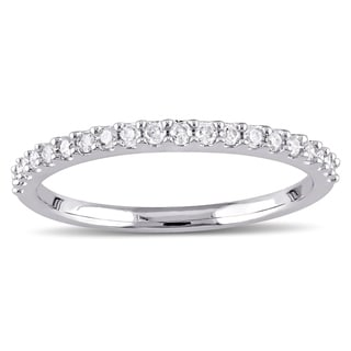 Miadora 10k White Gold 1/5ct TDW Diamond Stackable Wedding Band (More  Options Available
