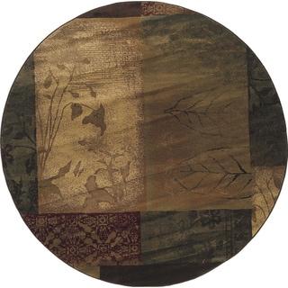 Indoor Brown/ Beige Transitional Area Rug (7'8 Round)