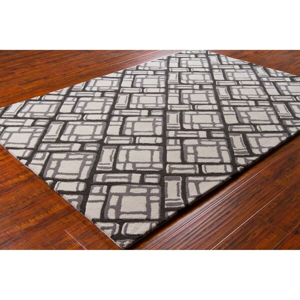 Artist's Loom Hand-tufted Contemporary Geometric Wool Rug