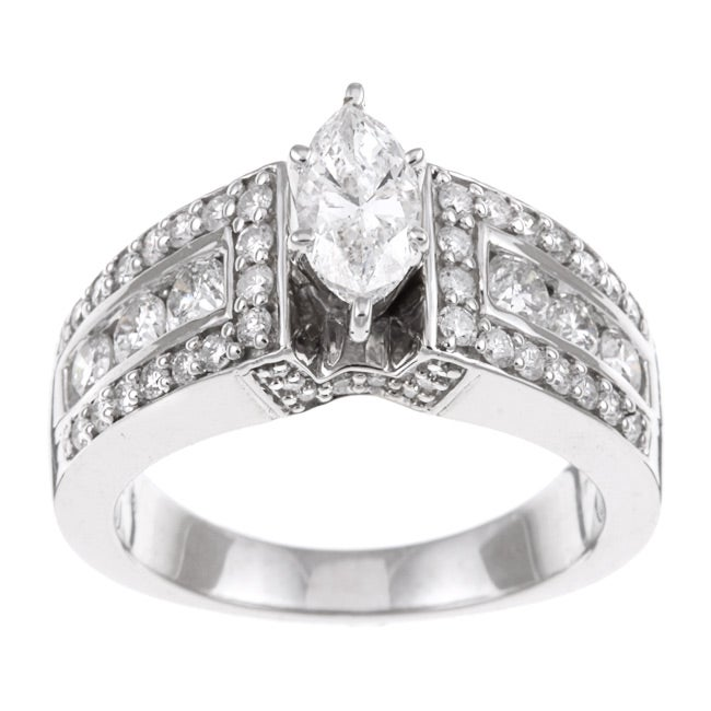 Eloquence 14k White Gold 1 1/2ct TDW Diamond Engagement Ring - Thumbnail 0