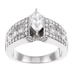 Eloquence 14k White Gold 1 1/2ct TDW Diamond Engagement Ring