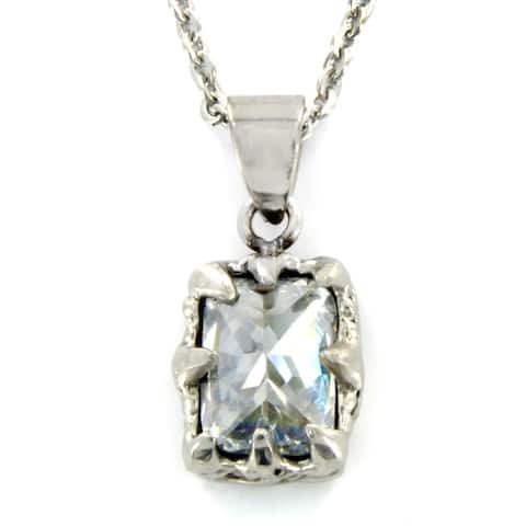 Stainless Steel Rectangular Ornate CZ Necklace