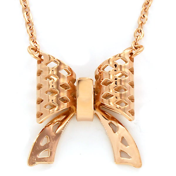 Rose Gold Plated Stainless Steel Bow Necklace - Pink