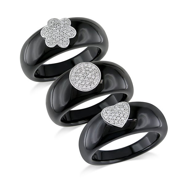 Miadora 14k White Gold Black Onyx and Diamond Ring (G-H, I1-I2)