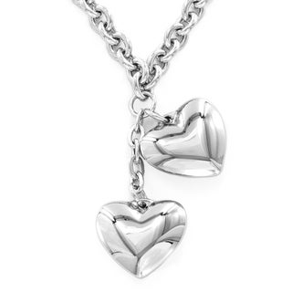 ELYA Stainless Steel Dangling Hearts Necklace