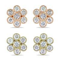 Miadora 14k Gold 1ct TDW Diamond Flower Earrings