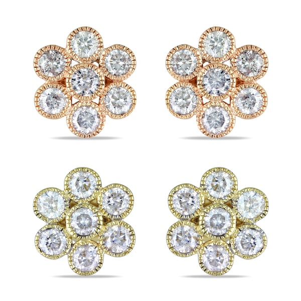 Miadora 14k Gold 1ct TDW Diamond Flower Earrings