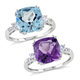 Miadora 10k White Gold Multi-Gemstone and Diamond Ring (G-H, I1-I2)