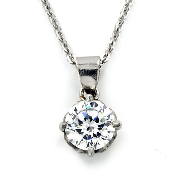 West Coast Jewelry Stainless Steel Dazzling Cubic Zirconia Necklace