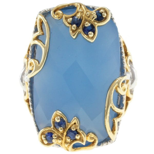 Michael Valitutti Two-tone Chalcedony and Sapphire Ring