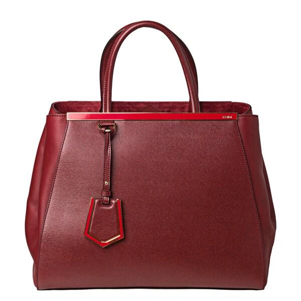 Fendi '2Jours' Medium Red Vitello/ Saffiano Leather Shopper Bag