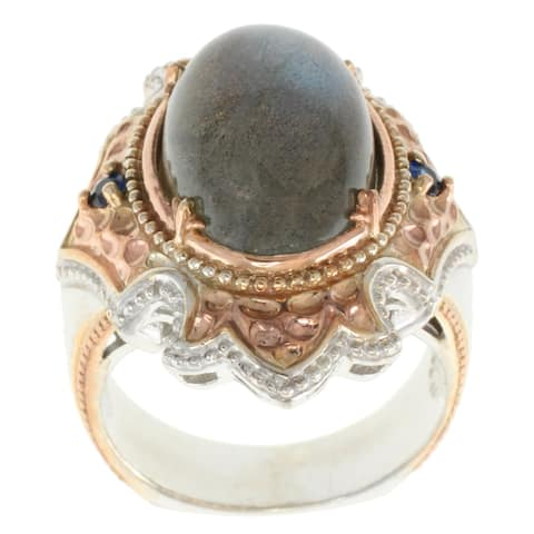 Michael Valitutti Palladium Silver Labradorite and Blue Sapphire Ring