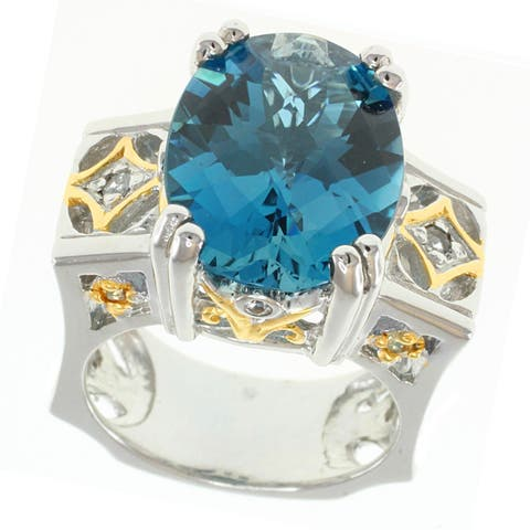Michael Valitutti Palladium Silver London Blue Topaz & Sapphire RIng
