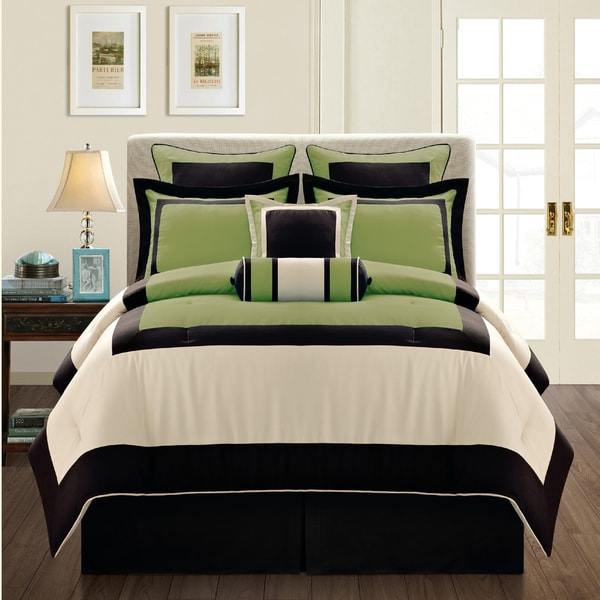 shop gramercy queen size 12 piece olive bed in a bag with sheet set free shipping today. Black Bedroom Furniture Sets. Home Design Ideas