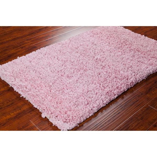Mandara Hand-woven Pink Shag Rug (3'6 x 5'6)