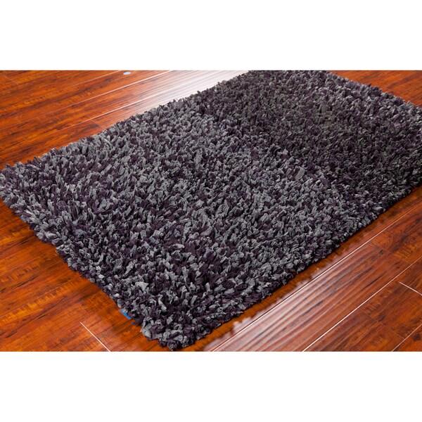 Mandara Hand-woven Grey/ Plum Shag Rug (3'6 x 5'6)