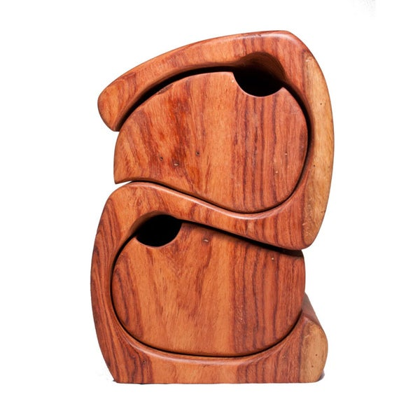 Hand-carved Yin-Yang Cedar Jewelry Box (Cambodia)