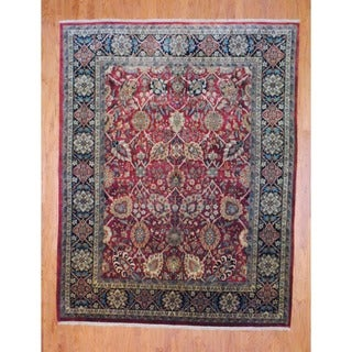 Herat Oriental Indo Hand-knotted Mahal Red/ Black Wool Rug (8' x 10')